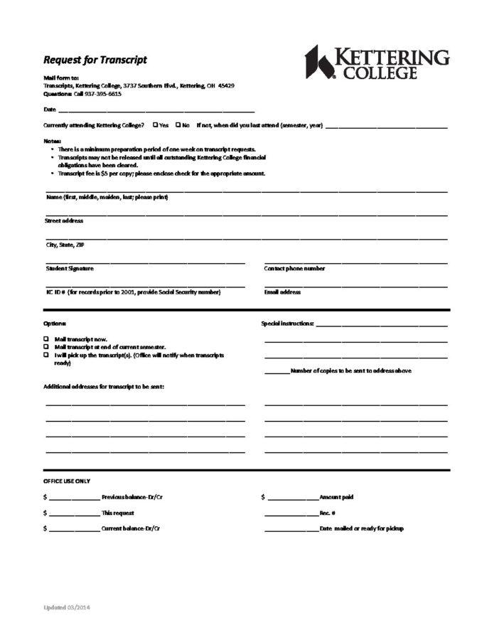 TRANSCRIPT REQUEST FORM - Kettering College