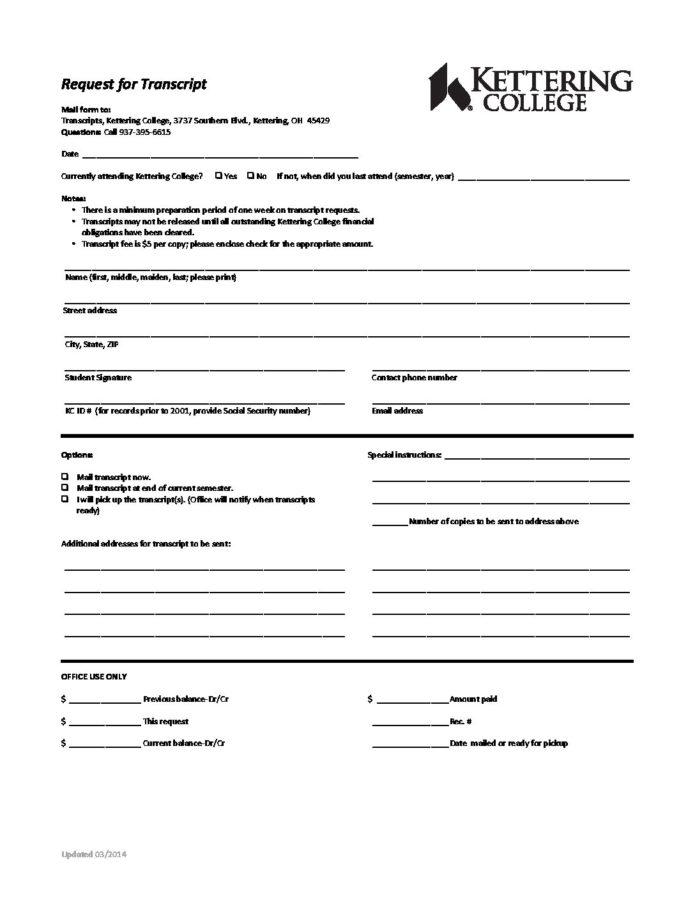 TRANSCRIPT REQUEST FORM - Kettering College