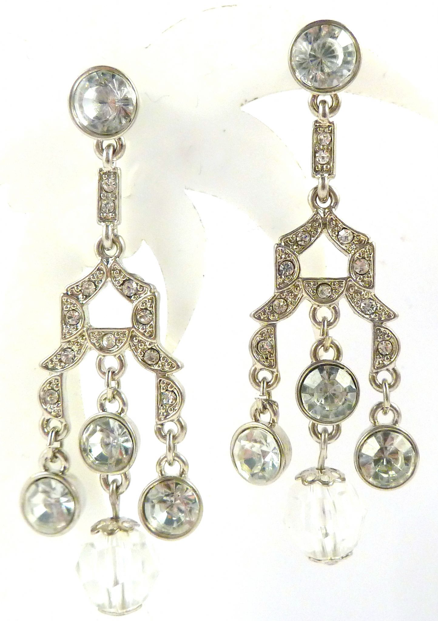 Art Deco Style Earrings Uk Art Deco Style Rhinestone Detailed Drop Earrings By Avon