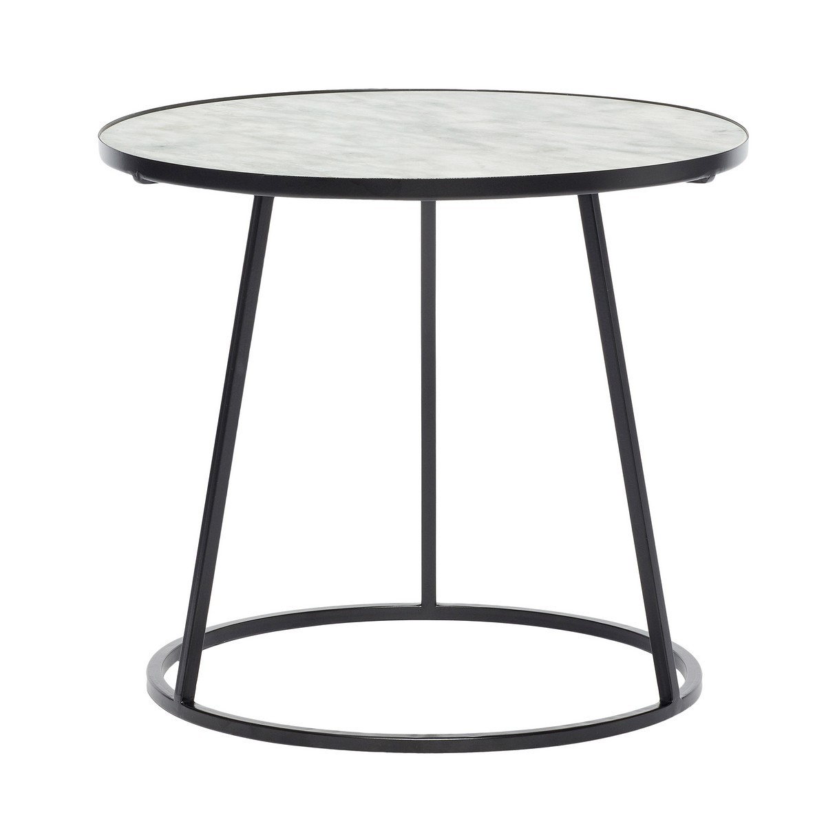 Table Metal Blanc Table Basse Ronde Marbre Blanc Metal Noir Hubsch Kdesign