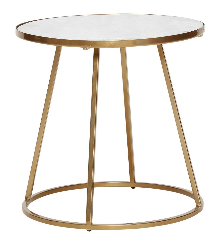 Table Metal Blanc Table Basse Ronde Marbre Blanc Metal Laiton Dore Hubsch Kdesign
