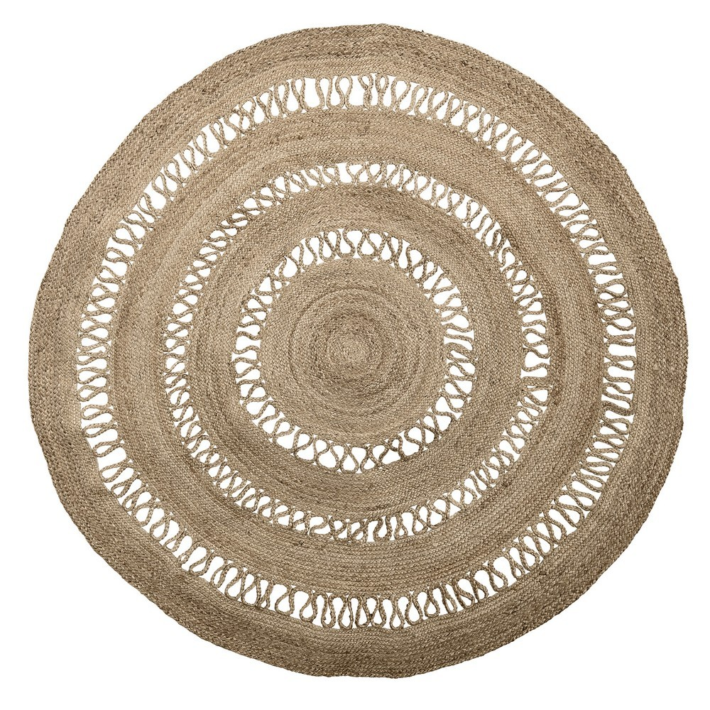 Miho Teppiche Bloomingville Tapis Rond Jute Esprit Broderie D 180 Cm 40114494 Kdesign