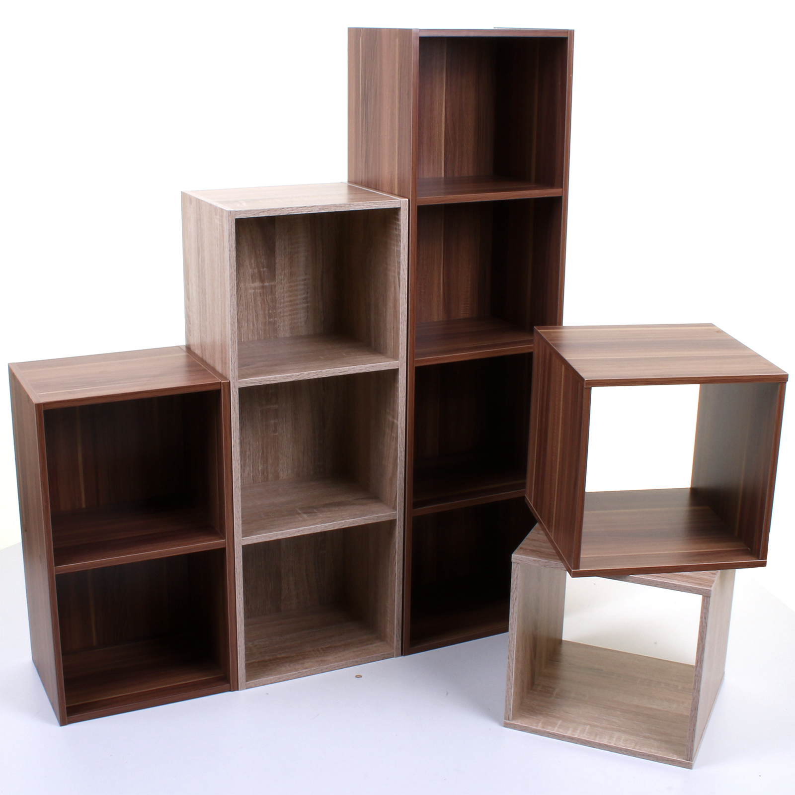 Cube Storage Shelves 2 3 4 Tier Wooden Bookcase Shelving Display Shelves