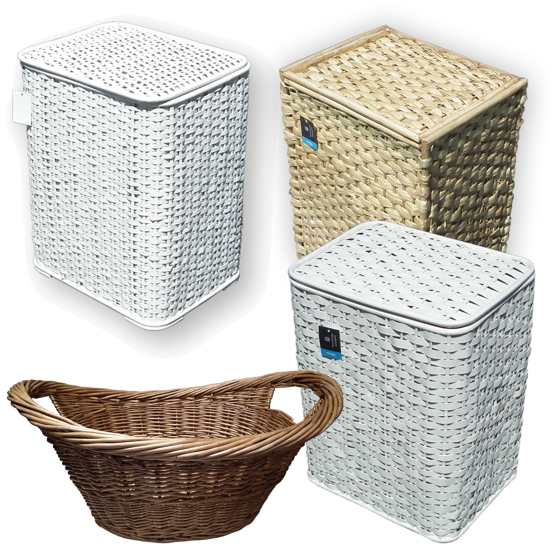 Clothes Baskets Bamboo Seagrass Wicker Laundry Basket Lid White Woven