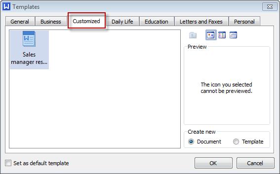 resume templates wps writer