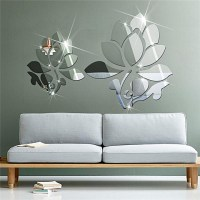 Buy Family shop Lotus 3D Mirror Wall Stickers For Wall ...