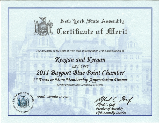 Certificate of Merit Awarded by New York State Assembly - Keegan - merit certificate comments