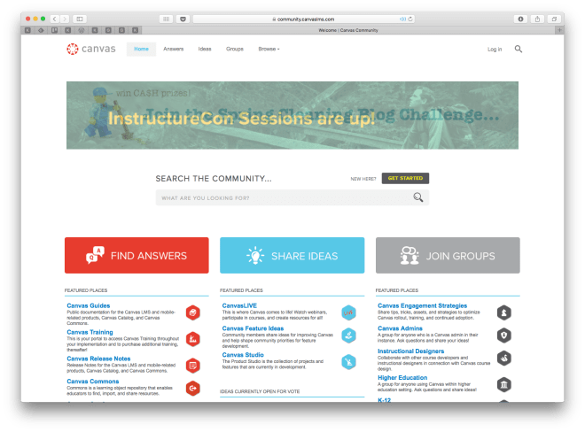 Community.canvaslms.com Home Page