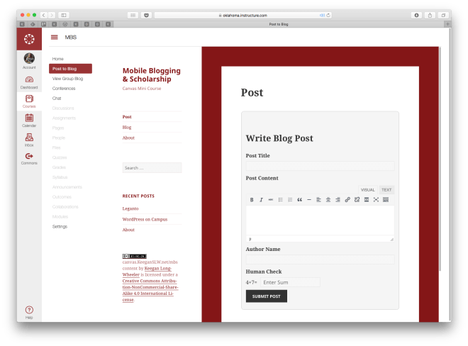 Blogging Within MBS Canvas Course