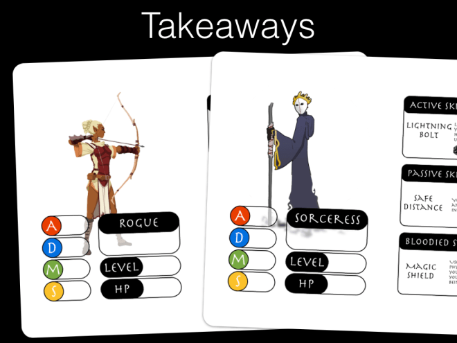 Slide from GOBLIN presentation showing female character and implied female character, sorceress.