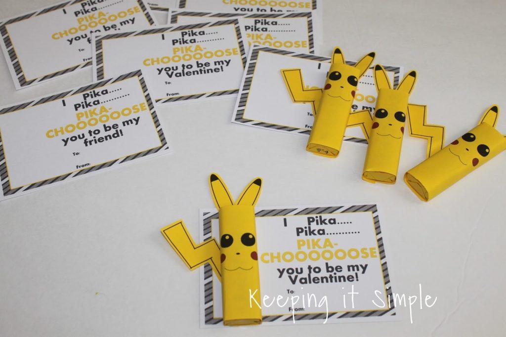 Boys Homemade Valentine- Pokemon Pikachu Valentines with Printable