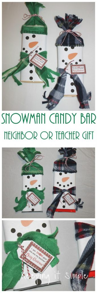 Snowman Candy Bar Neighbor or Teacher Gift with Free Printable
