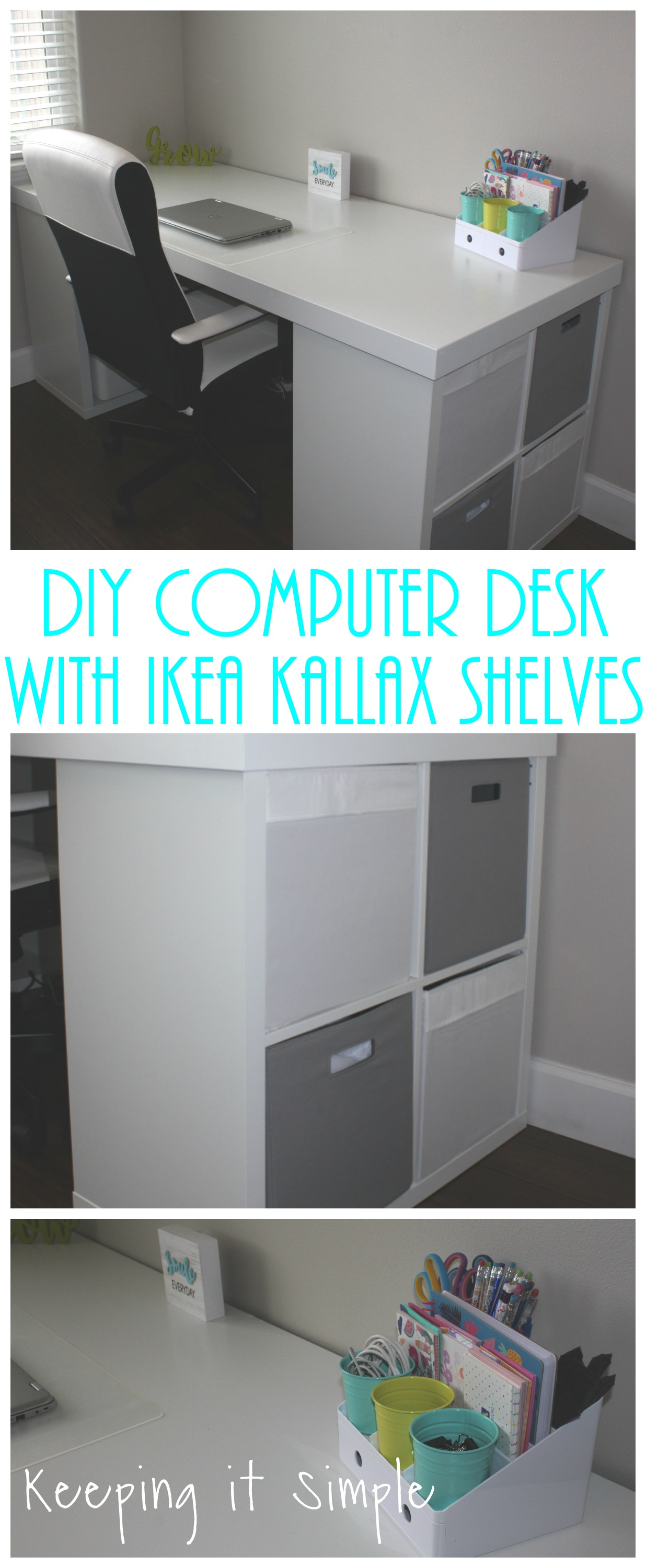 Ikea Expedit Ovet Ikea Hack Diy Computer Desk With Kallax Shelves Keeping It Simple