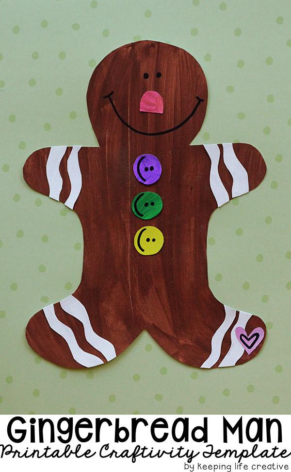 gingerbread man printable craft template