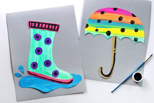 Rainy Day Umbrella Craft and Rain Boot Craft for kids to make