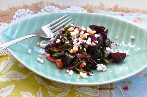 warm beetroot and fetta salad