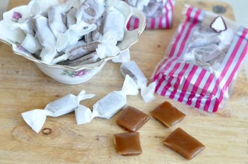 chewy salt caramel wrapped and packed