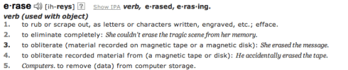 erase dictionary meaning