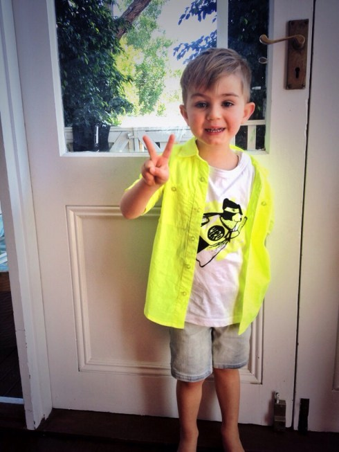 'What do you think of your new outfit, D Man?' 'Peace, man' See? Fluoro.