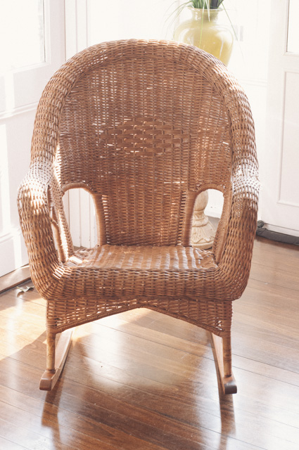Perfectly lovely, if scavenged, boring natural coloured chair..... begging for an upgrade.