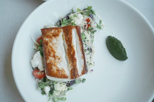 Mahi Mahi with Greek-ish Quinoa Salad and Pesto