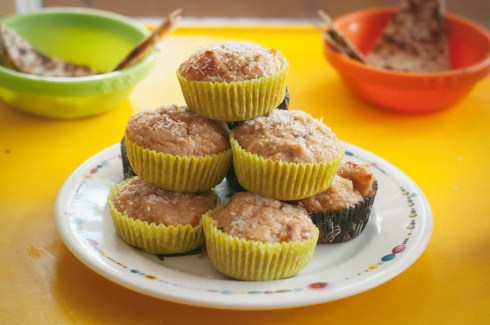 peach, coconut and almond recovery cakes