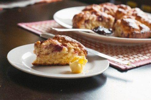 raspberry and passionfruit scones