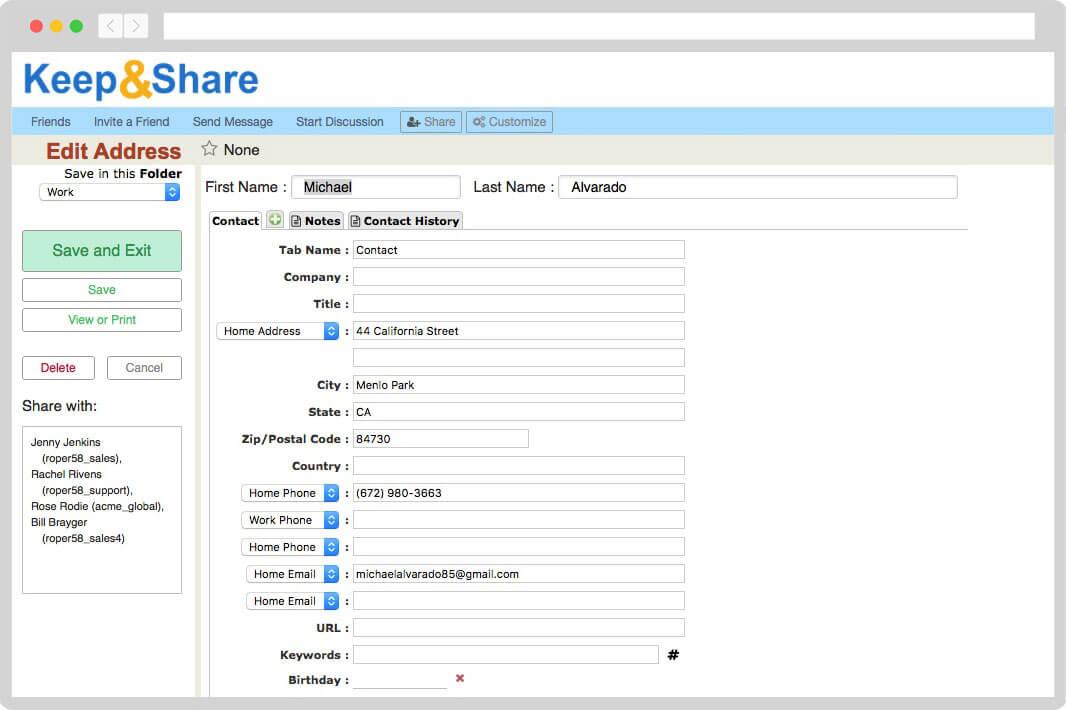 Address Books  Contact Management KeepandShare