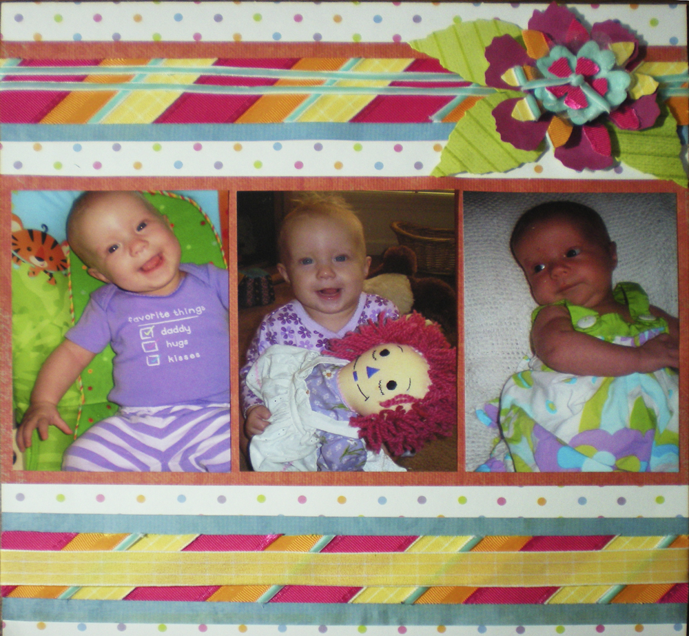 Scrapbook layout candy color ribbon right
