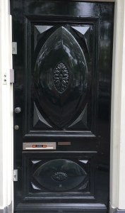 shiny black door
