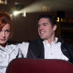 Couple at movie theater in a spat