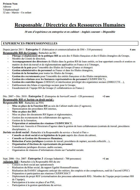 modele cv domaines competences