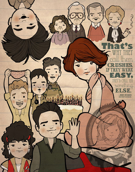 "Kelley Frisby Illustration John Hughes Project Sixteen Candles Fan Art ""Crushes"""