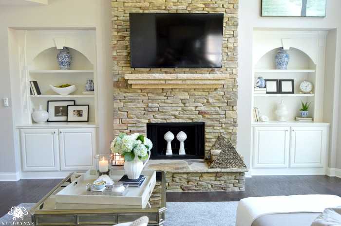 Stone Fireplace With Built Ins - Fireplace Ideas