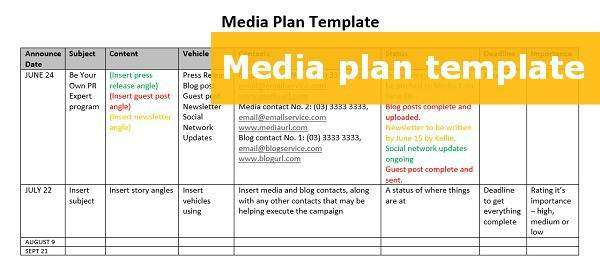 A FREE downloadable media plan template to step up your PR effort - social media plan template