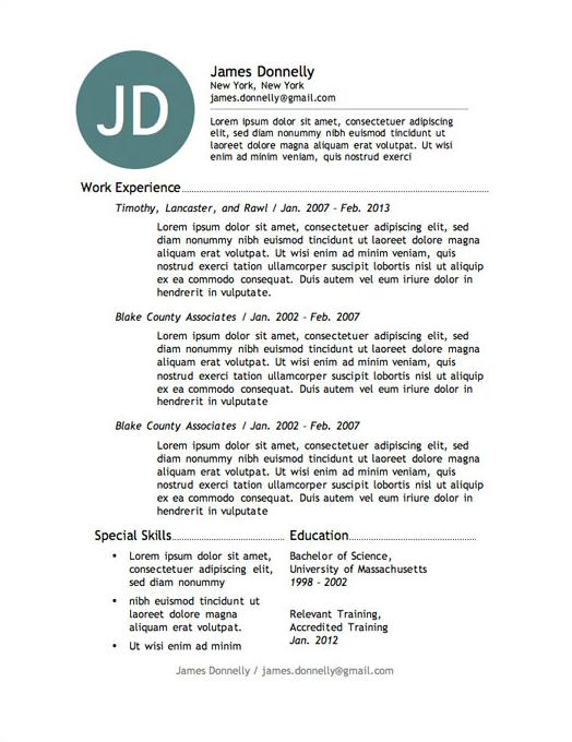 best resume template in word 2013