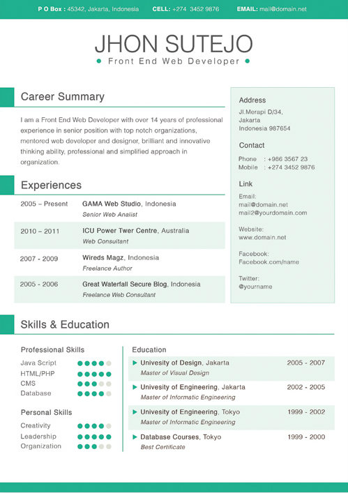 resume with sidebar template