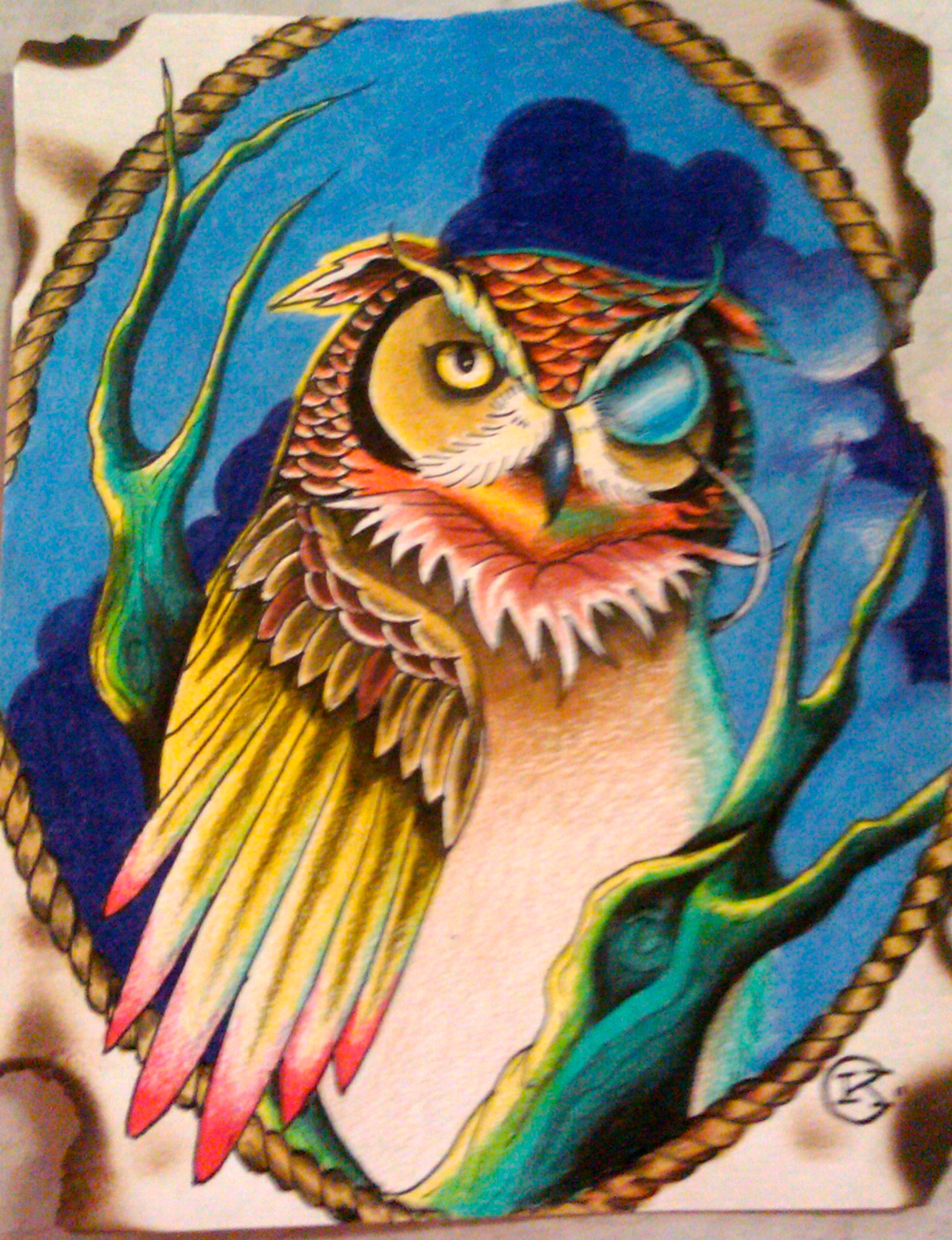 Colorful Pictures Of Owls Colorful Owl Drawing