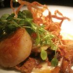 Seared Scallops, Asian pear, parsnip, chanterelle, warm pancetta vinaigrette, young cress