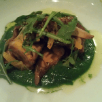 Wild mushrooms, nettle puree, arugula, mizuna