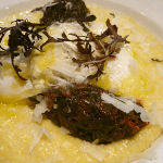 Polenta Cooked in Whey, poached farm egg, goat gouda, smoked braised greens, ricotta