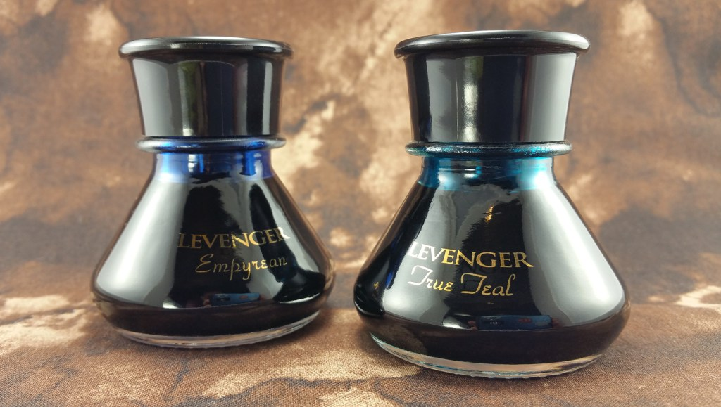 Two bottles of Levenger Ink: Empyrean and True Teal