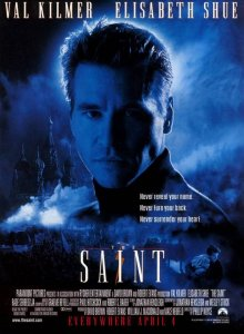 The Saint movie poster - Simon (Val Kilmer) with a blue misty background