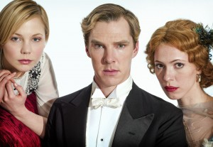 Parades End L-R Valentine Wannop (Adelaide Clemens), Christopher Tietjens (Benedict Cumberbatch), Sylvia Tietjens (Rebecca Hall)