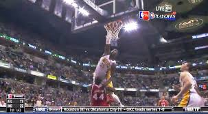 Roy Hibbert make Ivan Johnson his dunk lover during last night's game against the Hawks.