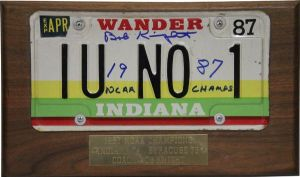 "The bid for this autographed and mounted ""Wander Indiana"" license plate is $303."