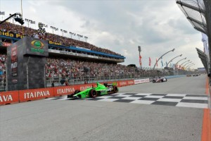 James Hinchcliffe takes the win after last turn pass in Brazil. (Photo courtesy of IZOD IndyCar Series)