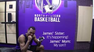 Northwestern's James Montgomery tells his mom and sister that he earned a scholarship.