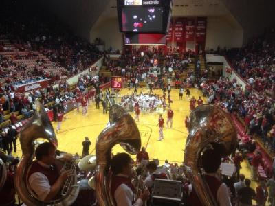 The tuba section of the IU Pep Band is right in my ear, and so far they are in better tune than the basketball team.