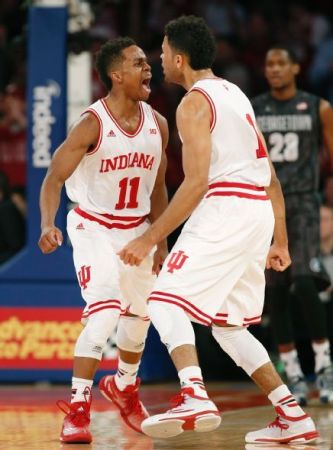 Indiana's Yogi Ferrell and James Blackmon enjoy a moment of revelry during an afternoon that ended badly for the Indiana Hoosiers.